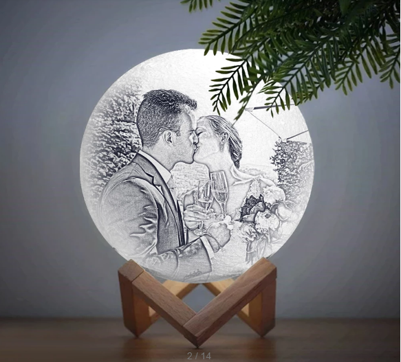 Personalized Lover Creative 3D Print photo Moon Lamp, Engraved Lamp – Touch Two Colors