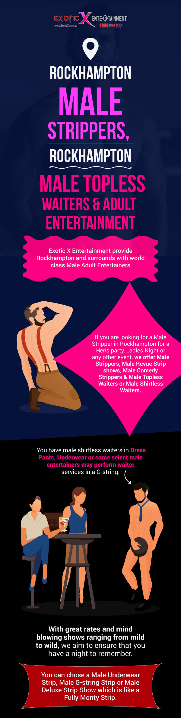 Choose EXE to Hire Professional Male Topless Waiters & Adult Entertainers