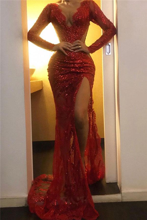 Elegante Abiballkleider Mit Ärmel | Rote Abendmoden Online