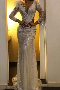 Designer Abendkleider Lang Weiß | Abiballkleider mit Ärmel