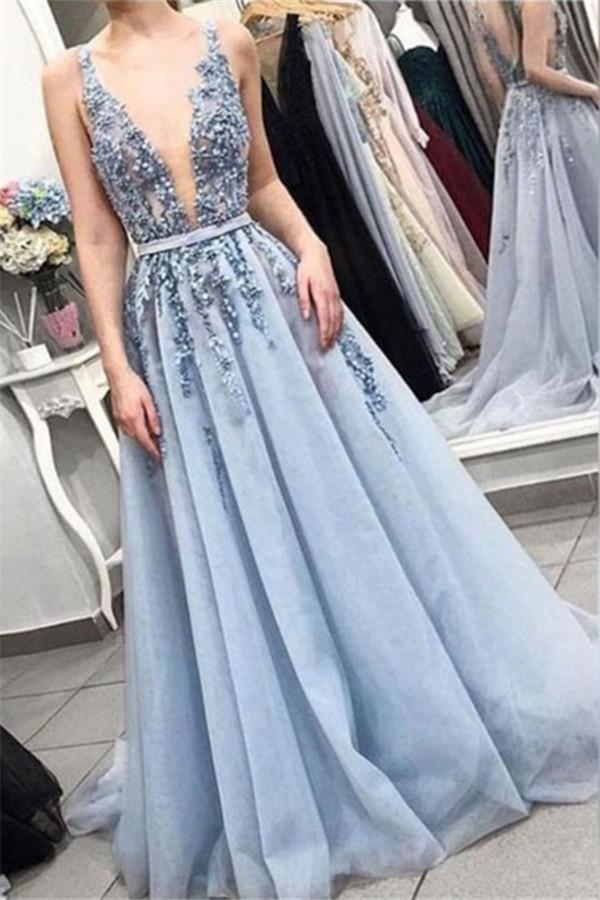 Elegante Abendkleider Lang V Ausschnitt mit Spitze Online