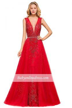Rote Abiballkleider Mit Spitze | Abendkleider Lang V Ausschnitt