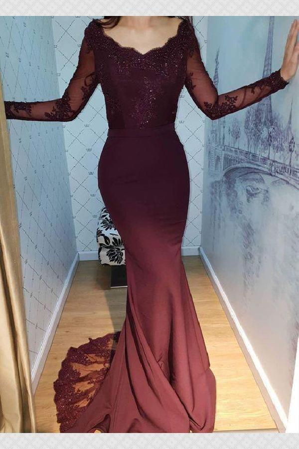 Elegante Abendkleider mit Ärmel | Weinrot Abendmoden Online
