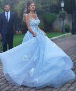 Elegante Abendkleider Online Blau | Abiballkleider Lang Günstig
