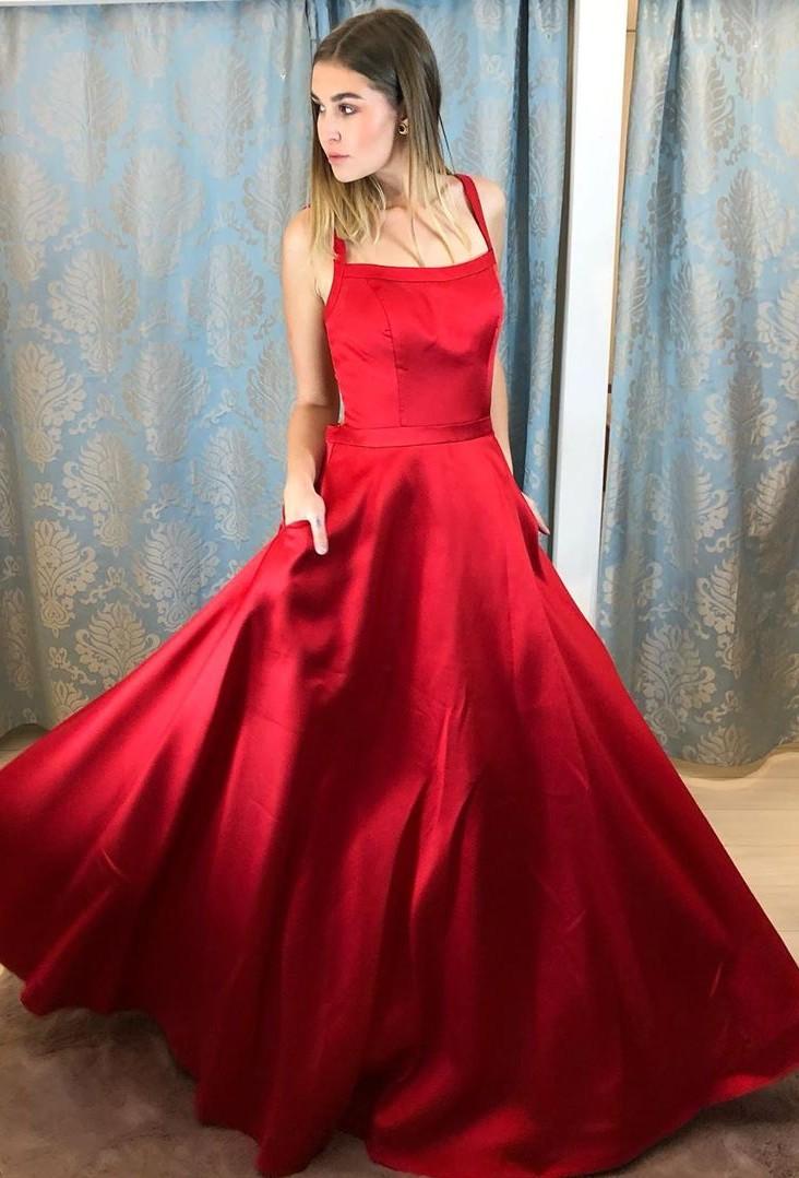 Rote Abendkleider Lang Günstig | Schlichte Abiballkleider Online
