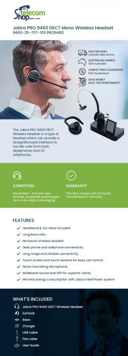 Buy Jabra PRO 9460 DECT Mono Wireless Headset From The Telecom Shop PTY Ltd