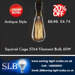 Squirrel Cage ST64 Filament Bulb 60W