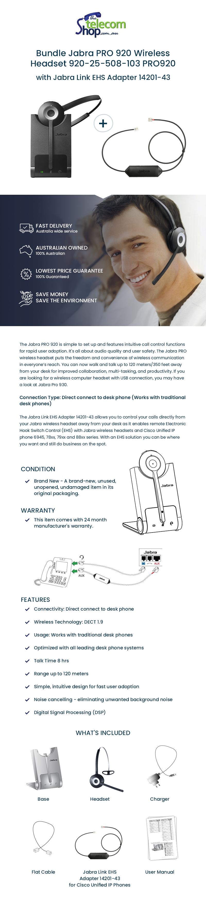 Buy Jabra Pro 920 Wireless Headset with Jabra Link EHS Adapter from The Telecom Shop PTY Ltd
