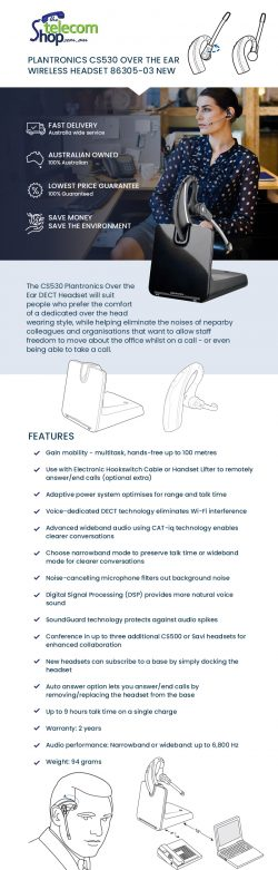 Buy Plantronics Cs530 Wireless Headset Online from The Telecom Shop PTY Ltd
