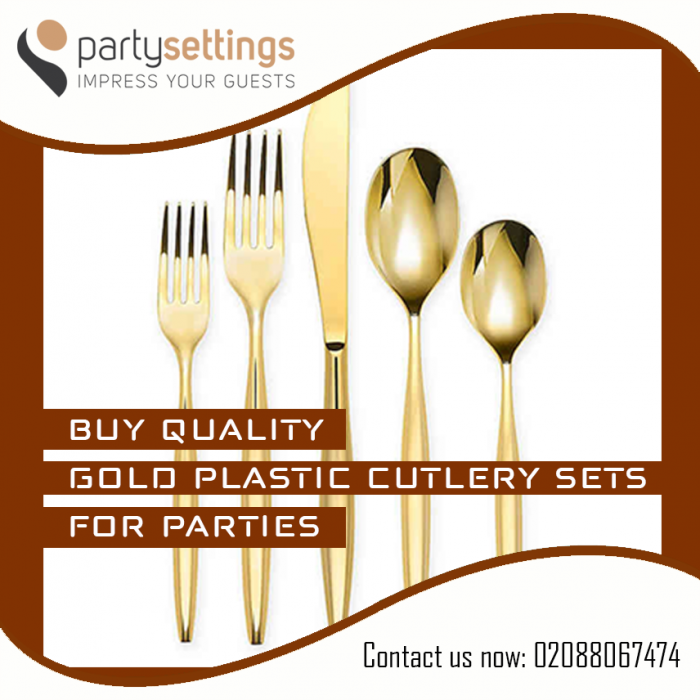BUY QUALITY GOLD PLASTIC CUTLERY SETS FOR PARTIES