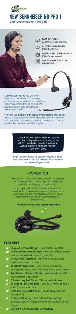 Buy Sennheiser MB Pro 1 Bluetooth Headset from The Telecom Shop PTY Ltd