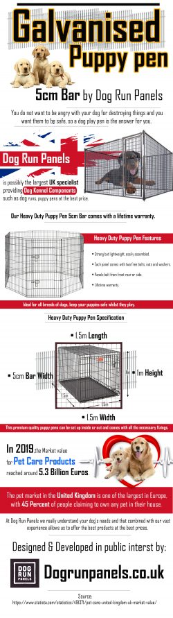 GALVANISED PUPPY Pen 5cm Bar by Dog Run Panels