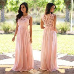 Günstig Brautjungfernkleider Lang Pink Mit Spitze Chiffon Kleider Für Brautjungfern