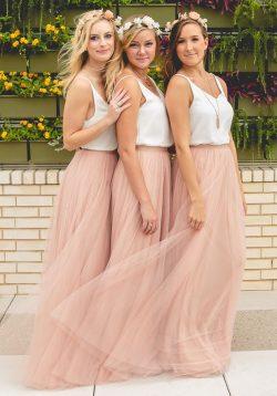 Brautjungfernkleider Altrosa Weiß Lang Träger Tüll Bodenlang Kleider Für Brautjungfern