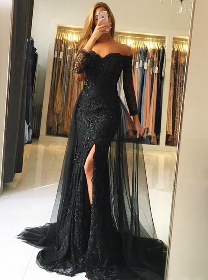 Fashion Abendkleid Mit Ärmel | Schwarze Abendkleider Lang Spitze
