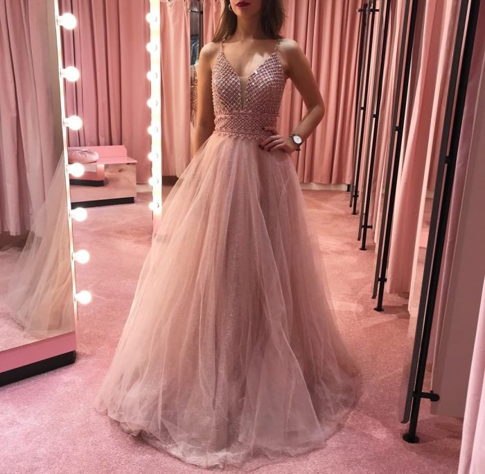 Designer Abendkleider Lang Rosa | Abiballkleider Abendmoden online