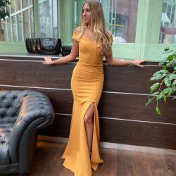 Gelb Abendkleider Schlicht | Abiballkleider Abendmoden Günstig Online
