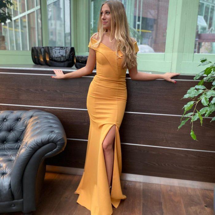 Gelb Abendkleider Schlicht   Abiballkleider Abendmoden Günstig Online