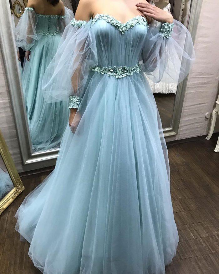 Wunderschöne Abendkleider Mit Ärmel | Blau Abiballkleider Online