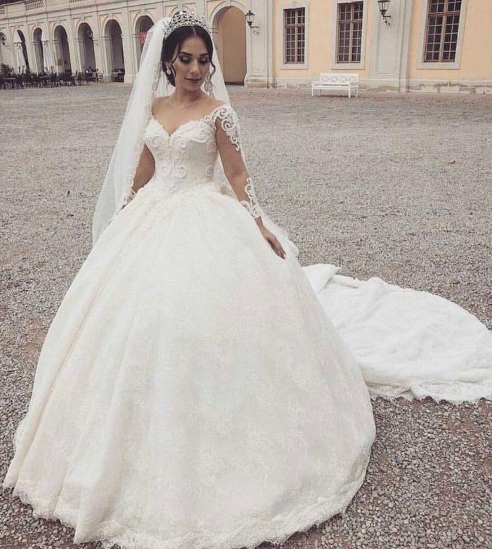 Fashion Hochzeitskleider Mit Ärmel | Prinzessin Brautmoden mit Spitze