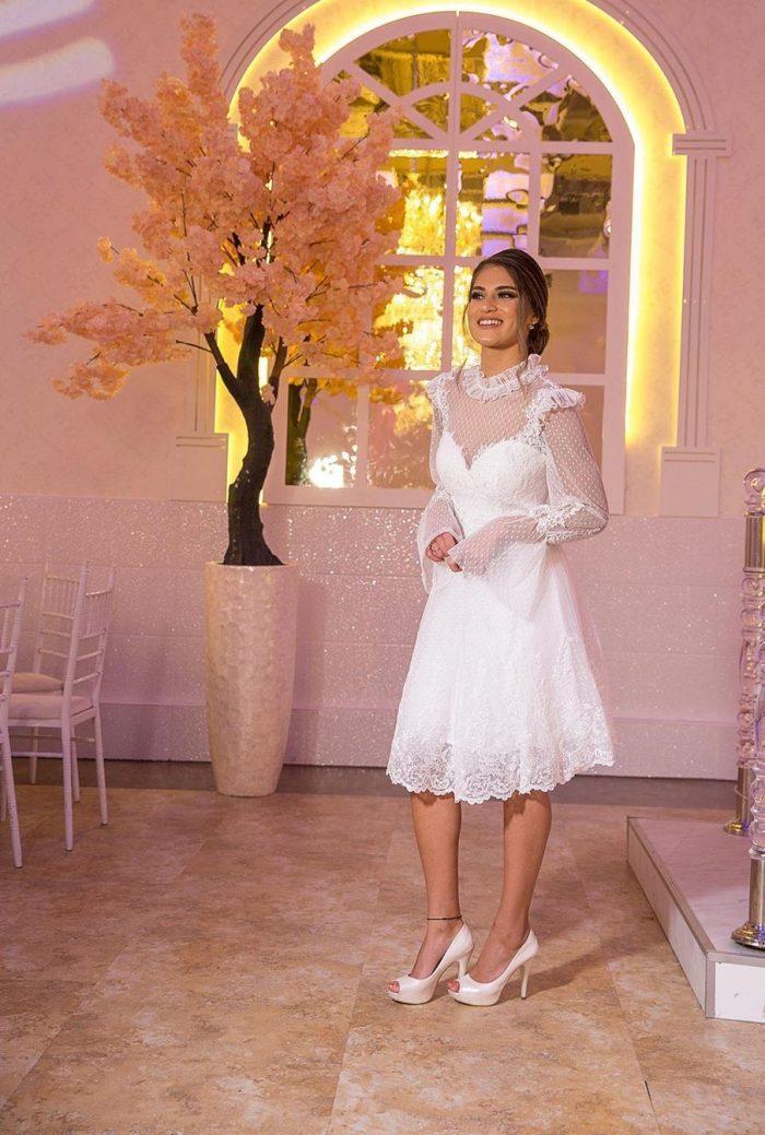 schöne Brautkleider Kurz | Spitze Hochzeitskleider Mit Ärmel