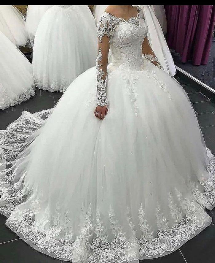 Designer Hochzeitskleider Mit Ärmel   Spitze Brautkleider Prinzessin
