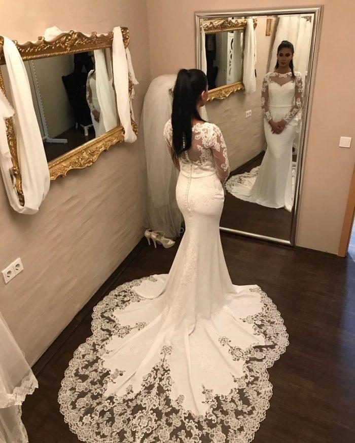 Elegante Brautkleider mit Ärmel | Spitze Brautmoden Meerjungfrau