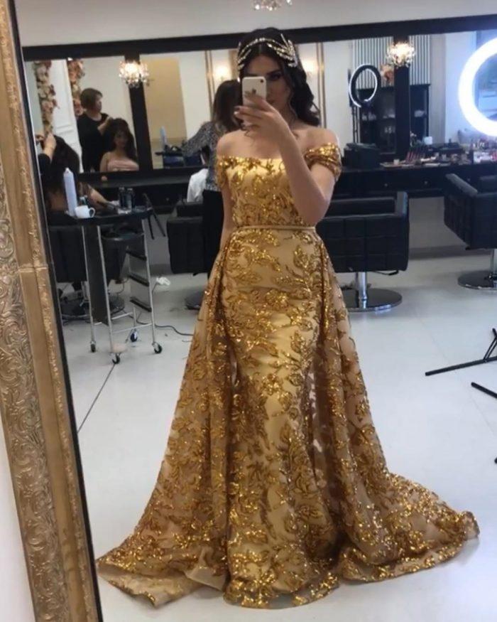 Gold Abendkleider Luxus | Abiballkleider Lang Glitzer Online