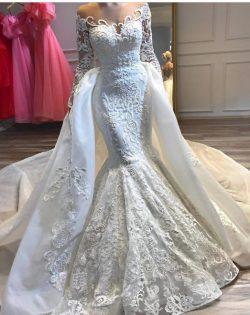 Luxus Hochzeitskleider A linie Spitze | Brautmoden mit Ärmel