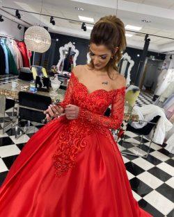 Rote Brautkleider Mit Ärmel | Hochzeitskleider Spitze Prinzessin