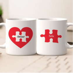 Personalized Name Couples Mug Set – Love Jigsaw