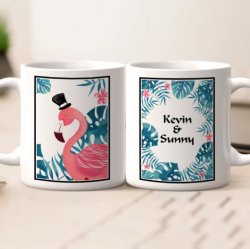 Personalized Name Couple Mug – Flamingo