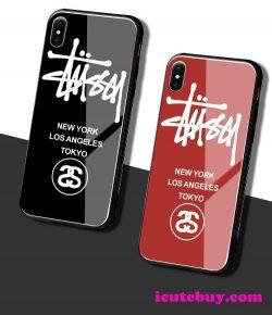 ステューシー iPhone11Pro iPhoneXS GalaxyS10Plusケース 強化ガラスケース 6色 男女 お洒落 icutebuy通販