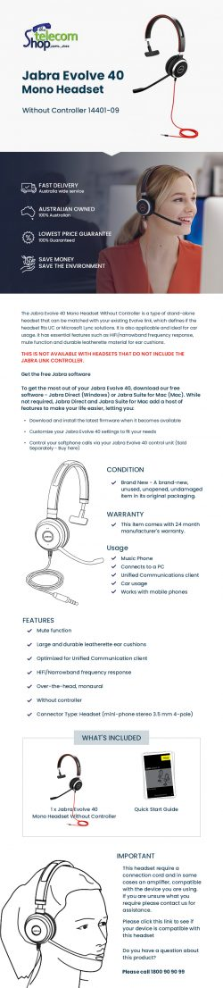 Buy Jabra Evolve 40 Mono Headset 14401-09 From The Telecom Shop PTY Ltd