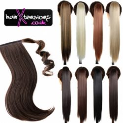 JET BLACK 100% HUMAN REMY 65G PONYTAIL HAIR EXTENSIONS