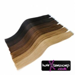 JET BLACK 14 INCH 100% HUMAN REMY TAPE HAIR EXTENSIONS