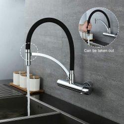 Schwarz mischbatterie küche wandmontage 180° drehbar Spüle Wasserhahn