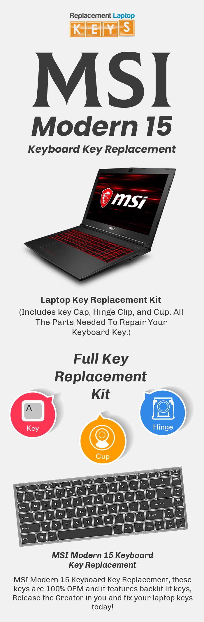 Order Original MSI Modern 15 Laptop Keys from Replacement Laptop Keys