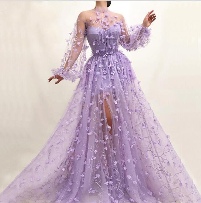 Elegante Abendkleider mit Ärmel | Lila Spitze Abendmoden Online