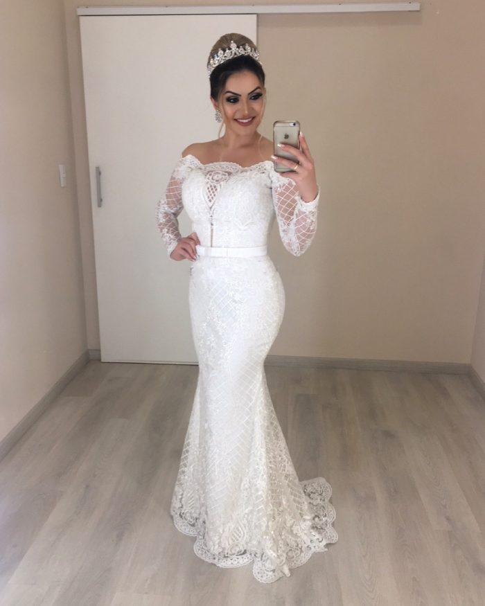 Elegante Brautkleider mit Ärmel | Brautmoden Meerjungfrau Spitze