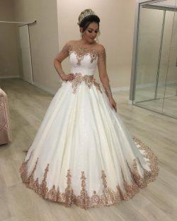 Designer Hochzeitskleider Gold Weiß | Brautkleider mit Glitzer