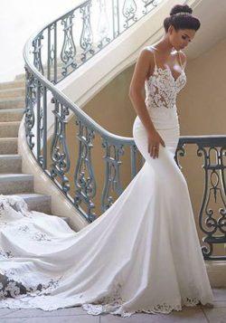 Elegante Brautkleid Weiß | Hochzeitskleid Meerjungfrau Mit Spitze