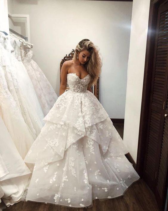 Luxus Brautkleider A linie | Spitze Brautmoden Online Kaufen