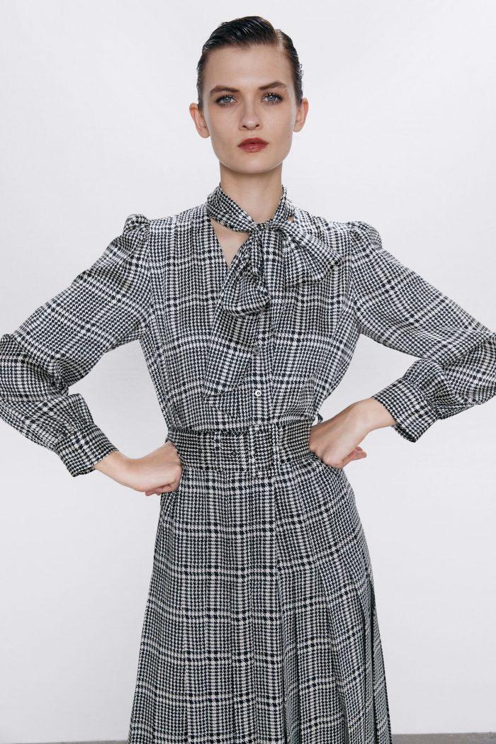 PRINTED DRESS WITH BELT   ZARA Australia
