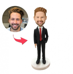UK Sales-Male Executive In Red Tie Custom Bobblehead