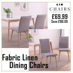 Set of 2 Oslo Fabric Linen Dining Chairs Light Grey