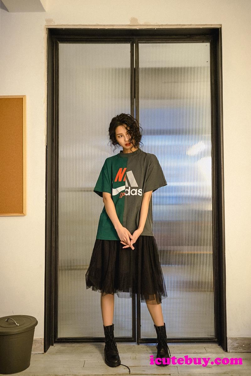 パロディ風 アディダス ナイキ コラボ Tシャツ スプライス式 NIKE ADIDASコラボ 半袖tシャツ Nike Adid ...
