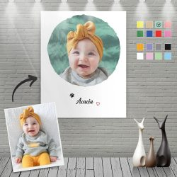 Custom Canvas Painting For Baby Portrait – Four Warm Colour