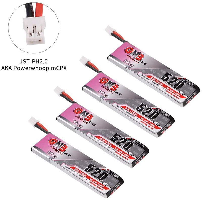 4pcs 520mAh 1S 3.8V LiPo Battery 80C HV LiHv Battery JST-PH 2.0 PowerWhoop mCPX Connector