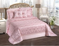 Patterned Pink Double Bed Cover